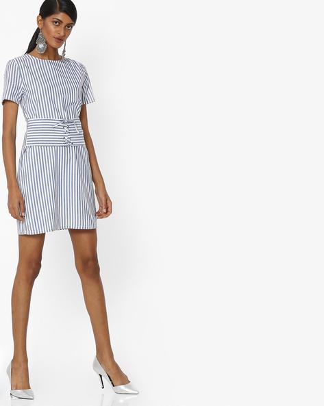 Striped A-line Dress With Obi Belt By Femella ( Blue )