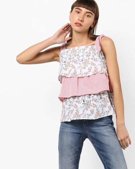 Printed Strappy Tiered Top By AJIO ( Offwhite )