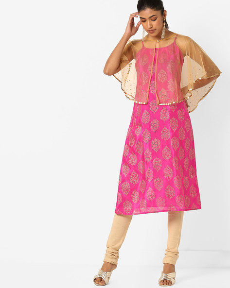 Printed Strappy Kurta With Mesh Overlay By Indian Ink ( Pink )