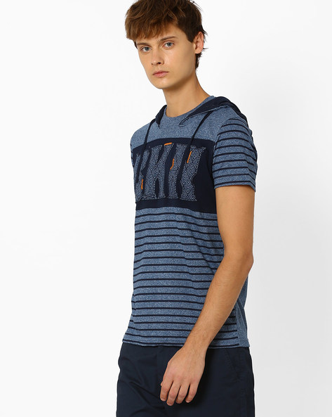 Slim Fit T-shirt With Hood By DNM X ( Blue )