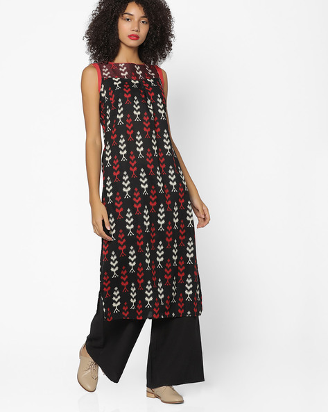 Printed Straight Kurta With Insert Pockets By AJIO ( Black )