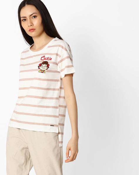 Striped High-Low T-shirt By Vero Moda ( White )