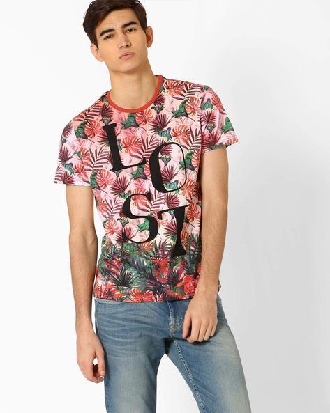Tropical Print T-shirt By AJIO ( Red )