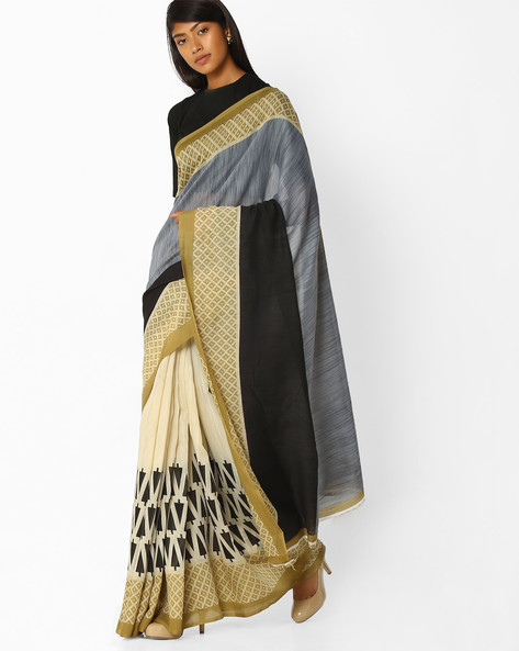 Printed Saree With Contrast Border By Pihu ( Offwhite )