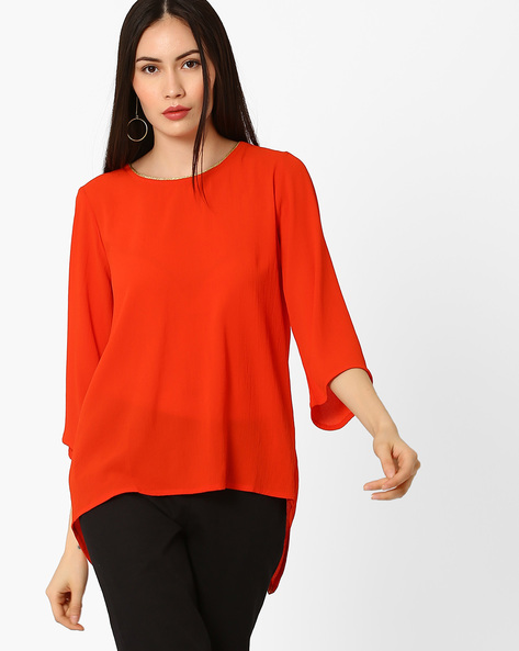High-Low Tunic With Surplice Back By COLOUR ME ( Orange )