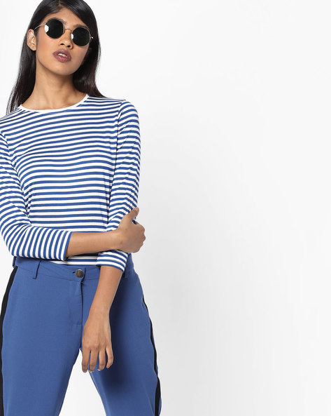Striped Crew-Neck T-shirt By Tokyo Talkies ( Multi )