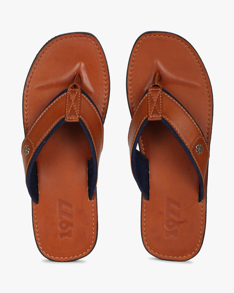 Panelled Flip-Flops With Embellishments By Estd.1977 ( Tan )