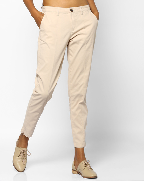 Woven Mid-Rise Pants By Project Eve WW Casual ( Beige )