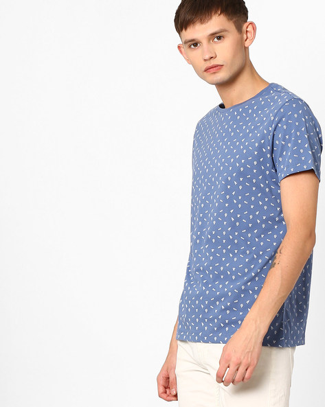 Slim Fit T-shirt With Micro Print By AJIO ( Blue )