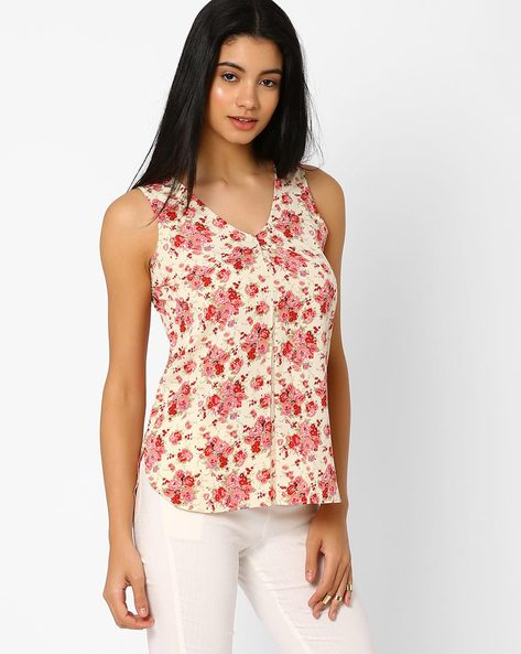 Floral Print Sleeveless Top By ANONYMOUS CO ( Brtmulti )
