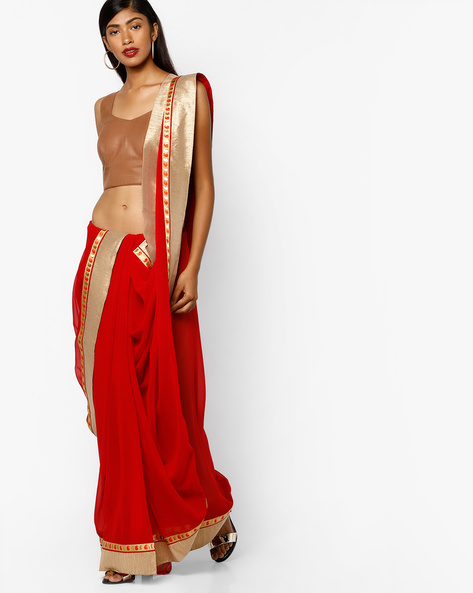 Georgette Saree With Embroidery By Majestic Silk ( Red )