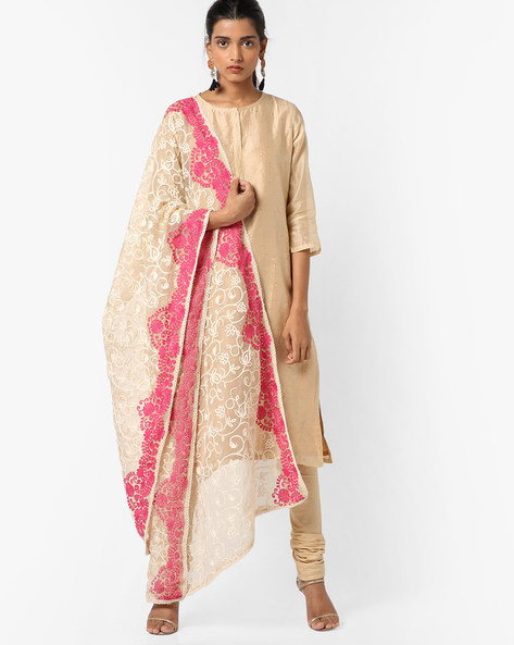 Embroidered Dupatta With Scalloped Borders By Dupatta Bazaar ( Cream ) - 460152571001