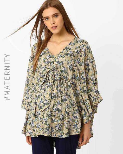 Maternity Tunic With Batwing Sleeves By Oxolloxo ( Blue )