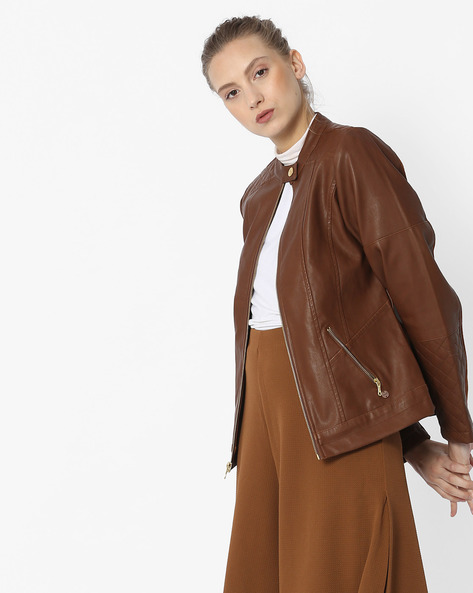 Leather Jacket With Quilted Panels By DUKE WOMEN'S ( Brown )