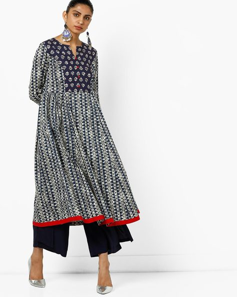 Geometric Print Kurta With Contrast Yoke By AJIO ( Blue )