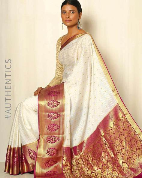 Pure Mysore Silk Crepe Saree By Indie Picks ( Cream )