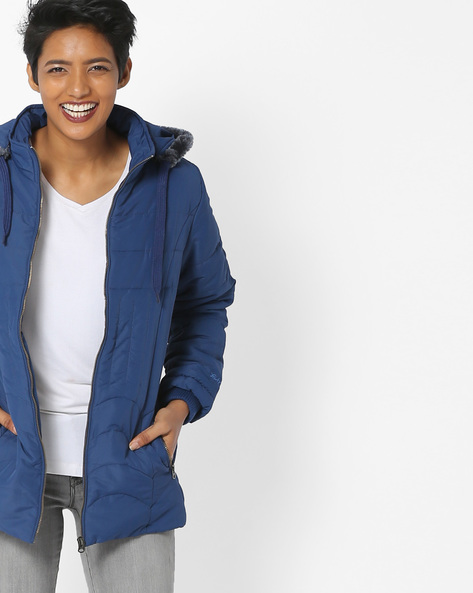 Hooded Quilted Jacket By Fort Collins ( Blue )