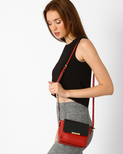 Colourblock Sling Bag By Lavie ( Red )