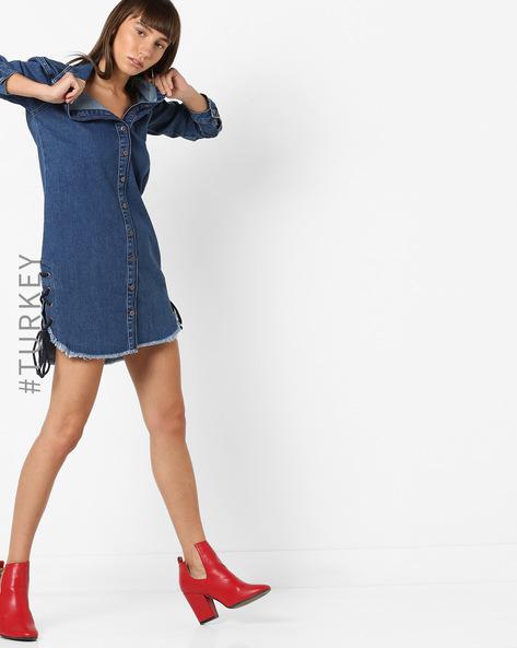 Denim Shirt Dress With Frayed Hems By TRENDYOL ( Blue )