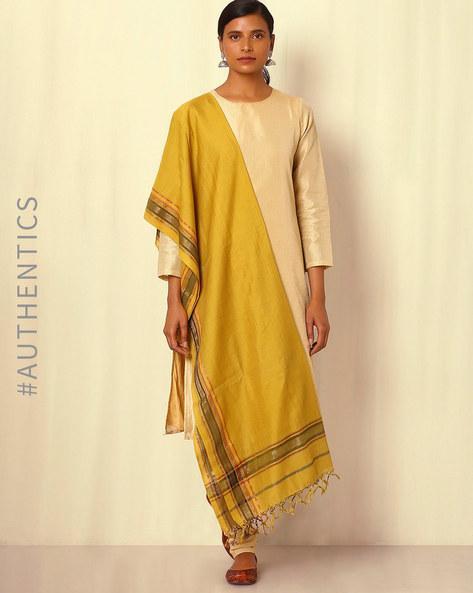Handwoven Maheshwari Silk Cotton Dupatta By GoCoop ( Mustard )