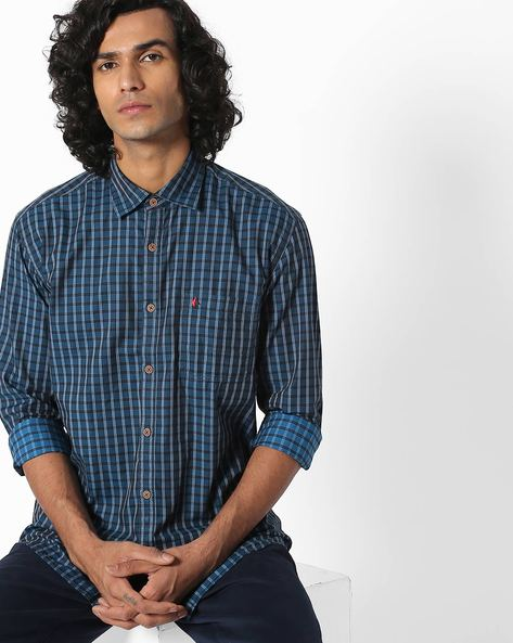 Checked Slim Fit Shirt With Patch Pocket By British Club ( Blue )