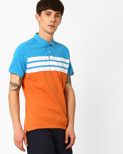 Striped Polo Muscle Fit T-shirt By BASICS ( Orange )