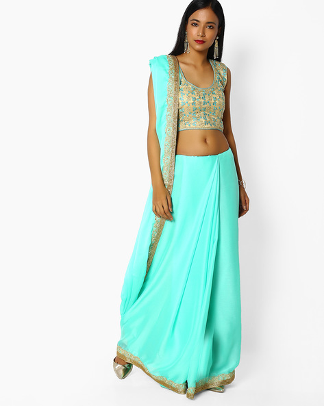 Chiffon Saree With Embroidery By Majestic Silk ( Green )