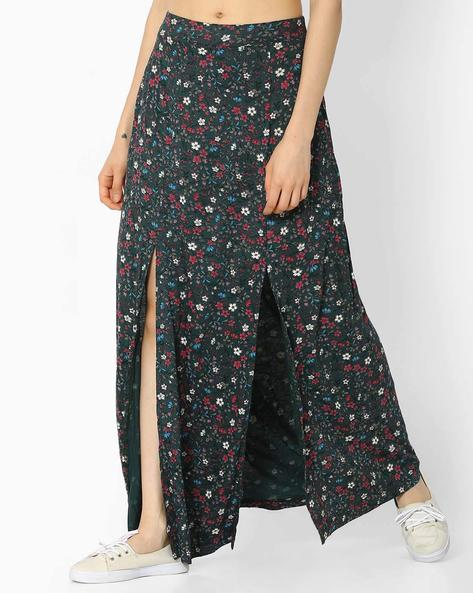 Floral Print Maxi Skirt With Front Slits By Ginger By Lifestyle ( Green )