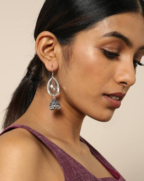 Oxidised Metal Earrings With Stone By Spargz ( White )