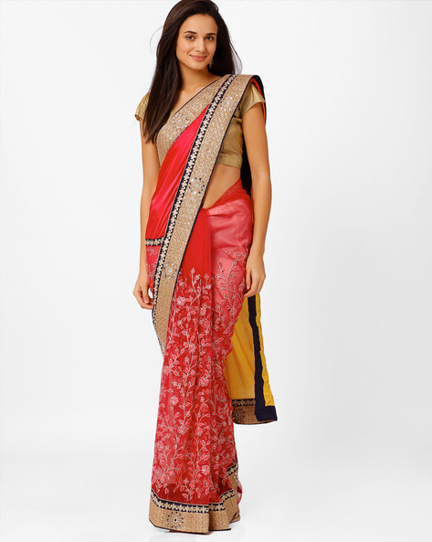 Satin Net Embroidered Saree By Akoya ( Pink )