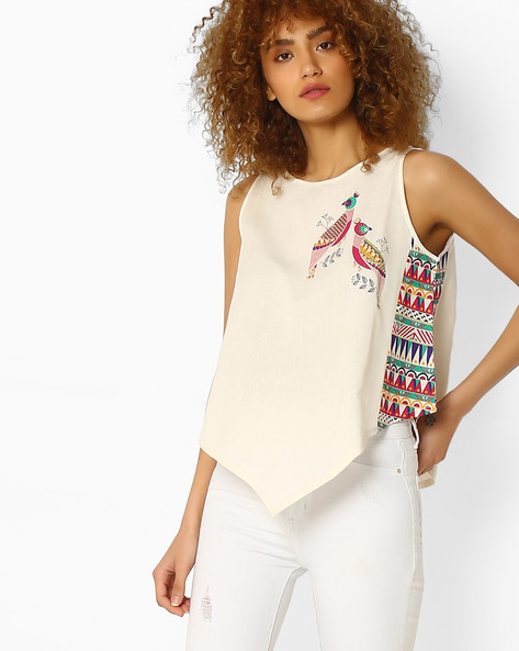 Sleeveless Printed Top With Asymmetrical Hem By Global Desi ( Natural )