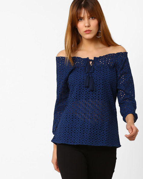 Laser-Cut Off-Shoulder Top By Fame Forever By Lifestyle ( Navy )
