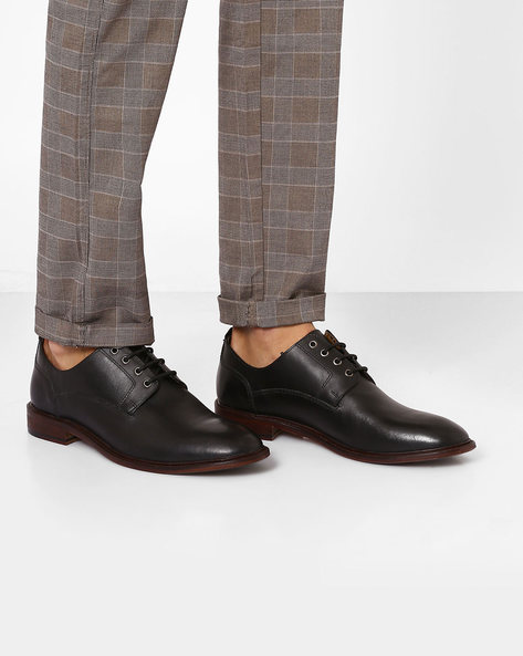 Genuine Leather Derby Shoes By Carlton London ( Black ) - 460076192001