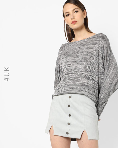 Heathered Top With High-Low Hem By INFLUENCE ( Khaki )