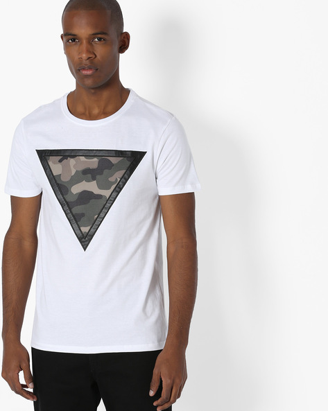 Crew-Neck T-shirt With Camo Patch By AJIO ( White )