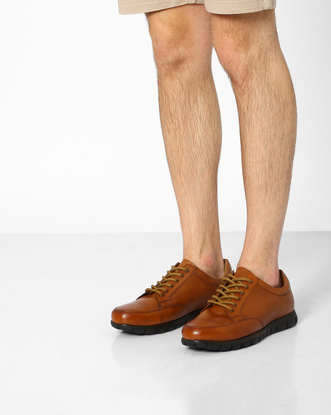 Genuine Leather Panelled Shoes By HATS OFF ( Tan )