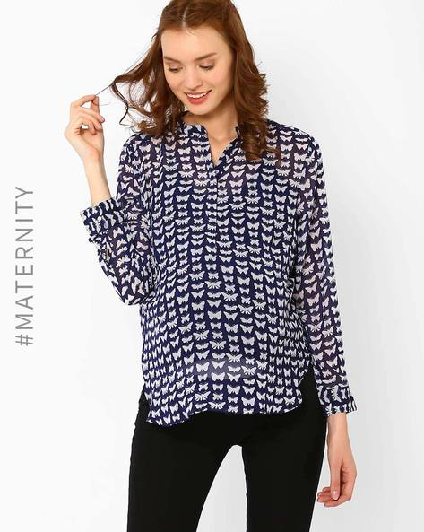 Printed Maternity Top By Oxolloxo ( Blue )