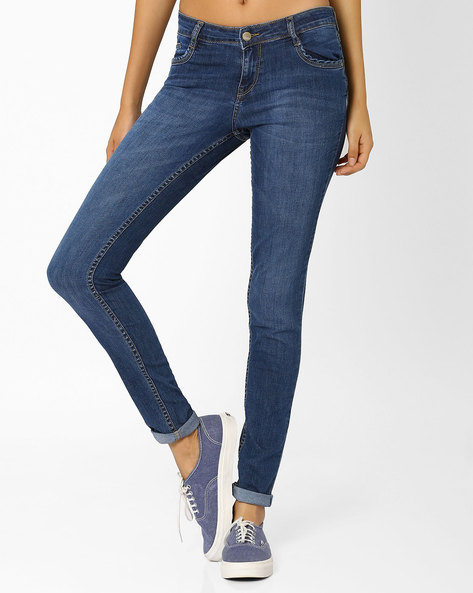 Lightly Washed Skinny Jeans By KRAUS ( Blue )