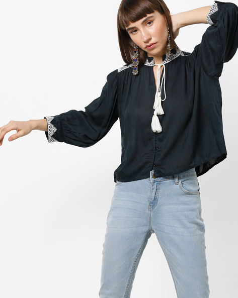Embroidered Blouse Top With Tie-Up By Rena Love ( Black )