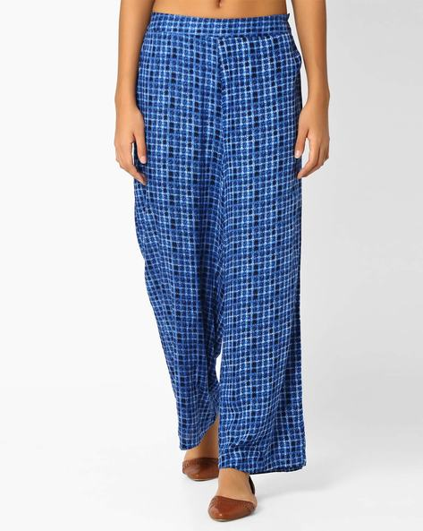 Checked Palazzo Pants By Biba ( Blue )