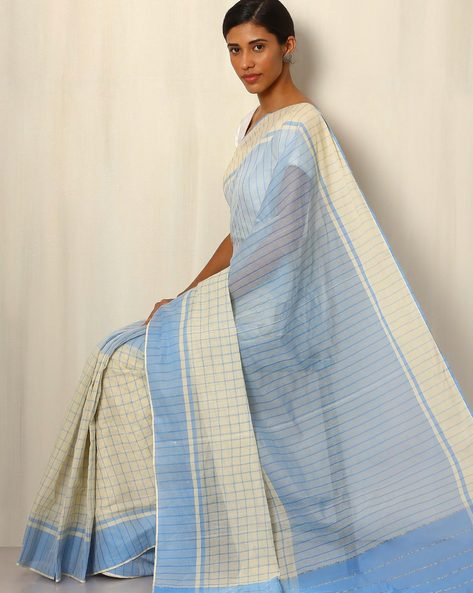 Mercerised Cotton Checked Saree By Indie Picks ( Blue )