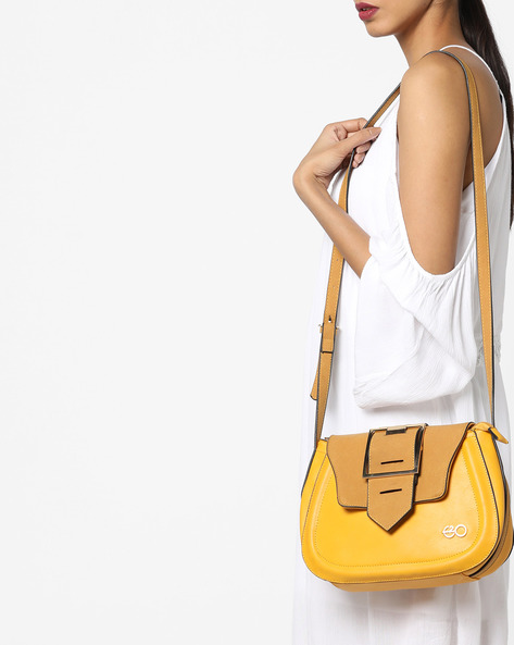 Sling Bag With Suede Flap By E2O ( Yellow )