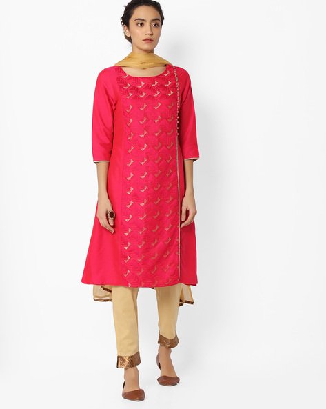 Embroidered Churidar Kurta With Dupatta By AVAASA SET ( Ltpink )