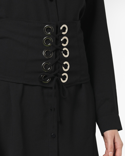 Shirt Dress With Corset Waist By Glamorous ( Black )