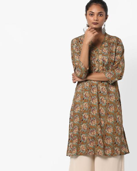 Floral Print Straight Kurta By Melange By Lifestyle ( Olive )