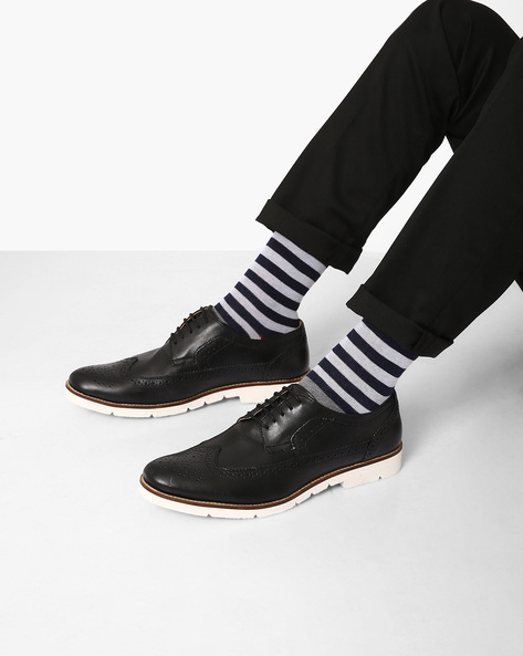 Genuine Leather Brogues By Piaffe ( Black )
