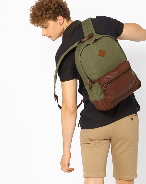 Canvas Backpack With Laptop Sleeve By AJIO ( Olive )