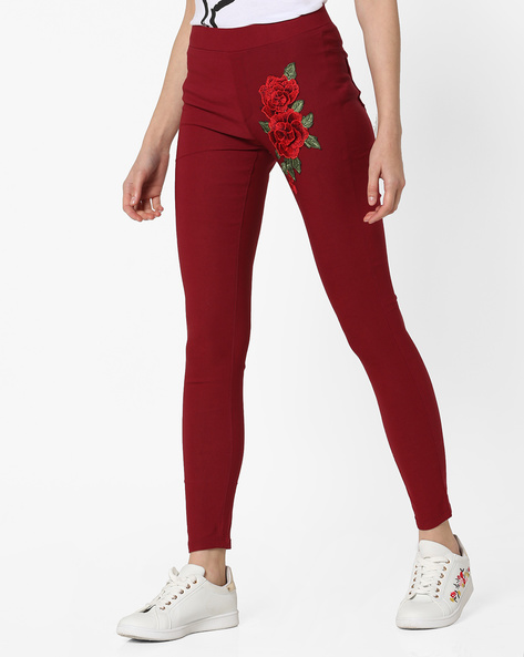 Ankle-Length Jeggings With Floral Embroidery By Sassafras ( Maroon )