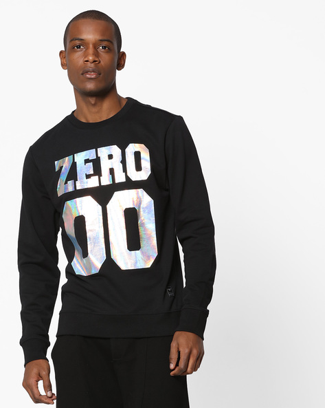 Printed Crew-Neck Sweatshirt By FLYING MACHINE ( Black )
