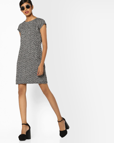 Shift Dress With Woven Pattern By And ( Black )